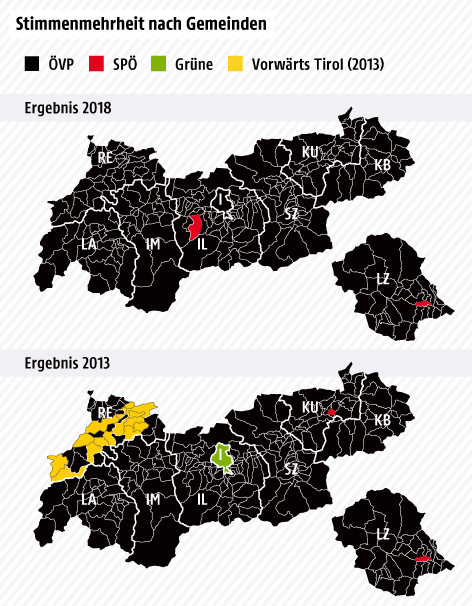 Karte, eingefärbt nach Stimmenmehrheit in Gemeinden bei Landtagswahl 2013 und 2018
