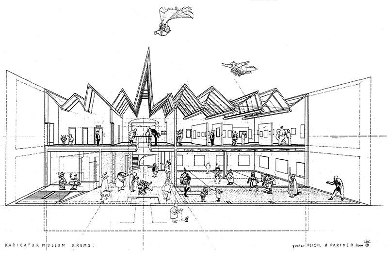 Gustav Peichl, Skizze des Karikaturmuseum Krems, 2000