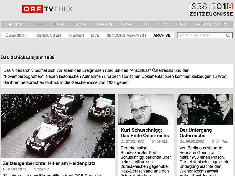 Schwerpunkt 1938 im ORF TV Thek