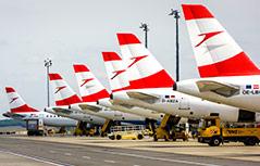 Heckflossen von AUA-Flugzeugen