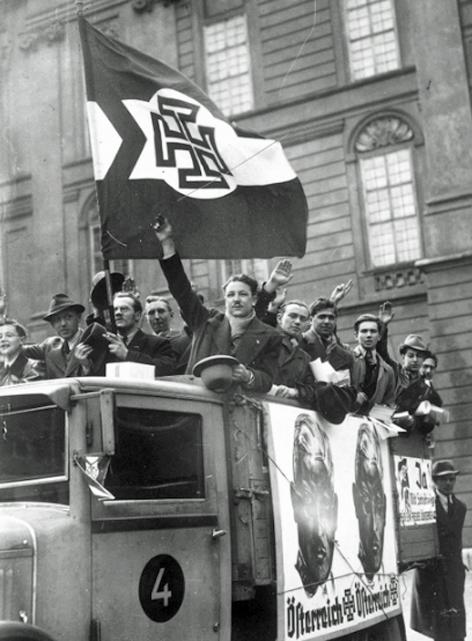 LKW mit Anhängern Schuschniggs, Wahlaufruf für die Unabhängigkeit, 10. März 1938