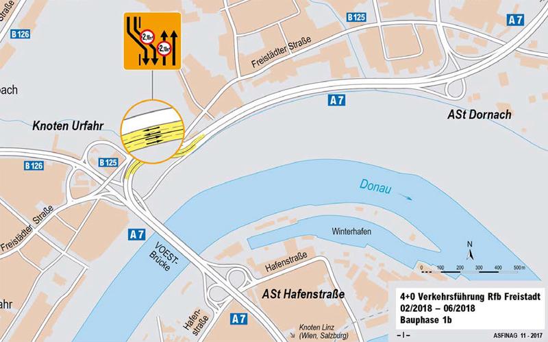 ASFINAG Voest-Brücke Karte Umleitung A7