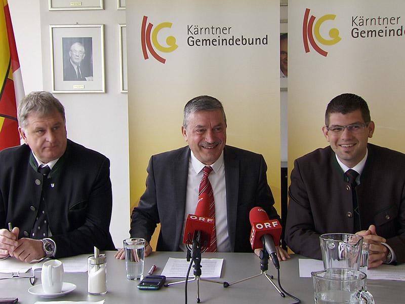 Gemeindebund Wünsche künftige Regierung; v.l.n.r.: Maximilian Linder (FPÖ),  Bürgermeister der Gemeinde Afritz am See, Peter Stauber (SPÖ), Bürgermeister der Stadtgemeinde St. Andrä, Martin Gruber (ÖVP), Bürgermeister der Gemeinde Kappel am Krappfeld