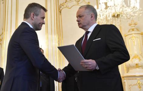 President der Slowakei Andrej Kiska und der neue Premierminister Peter Pellegrini