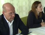 Marlene Svazek mit Reinhard Rebhandel bei Pressegespräch