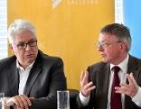 Andreas Huss, Obmann der Salzburger Gebietskrankenkasse, und Karl Forstner, Präsident der Salzburger Ärztekammer