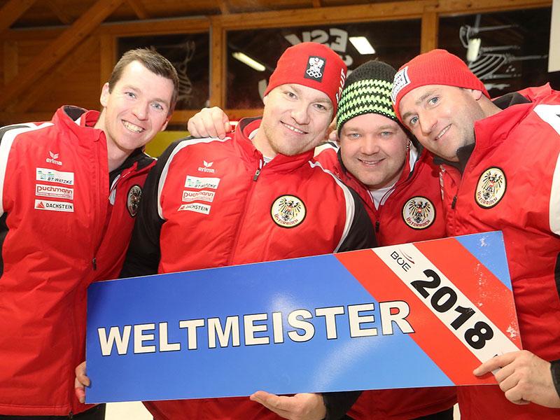 Eisstock Weltmeister 2018 Weitenbewerb Mannschaft - Philipp Baumgartner, Markus Weichinger, Markus Bischof und Bernhard Patschg
