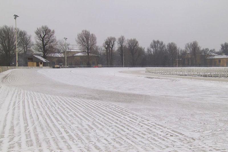 Winterliche Trabrennbahn