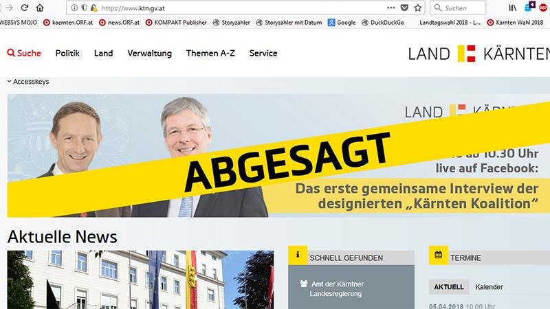 Benger Rücktritt Screenshot Land Kärnten