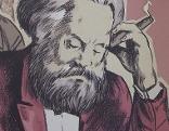 Karl Marx auf Bild in Ausstellung im Waschsalon Karl-Marx-Hof