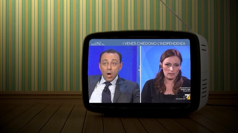Grafik mit Fernsehgerät, darin sind zwei Gäste einer Talkshow zu sehen, die sich aufregen