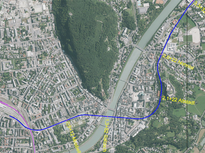 Skizze für das Projekt einer regionalen Stadbahn