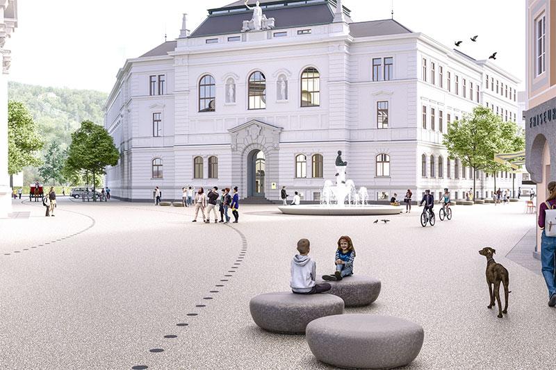 Pläne für die Neugestaltung des Kajetanerplatzes in der Stadt Salzburg