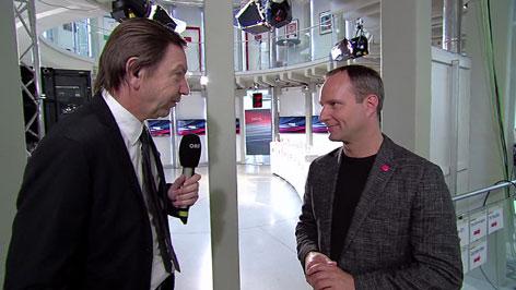 Matthias Strolz NEOS mit ORF-Redakteur Reinhard Grabher