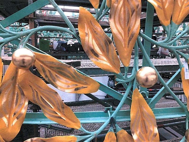 Vergoldete Blätter der Secessions-Kuppel