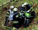 Bergung eines Motorrads nach Unfall