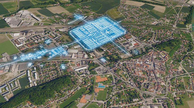 Legionslager-Plan Lauriacum im heutigen Stadtbild