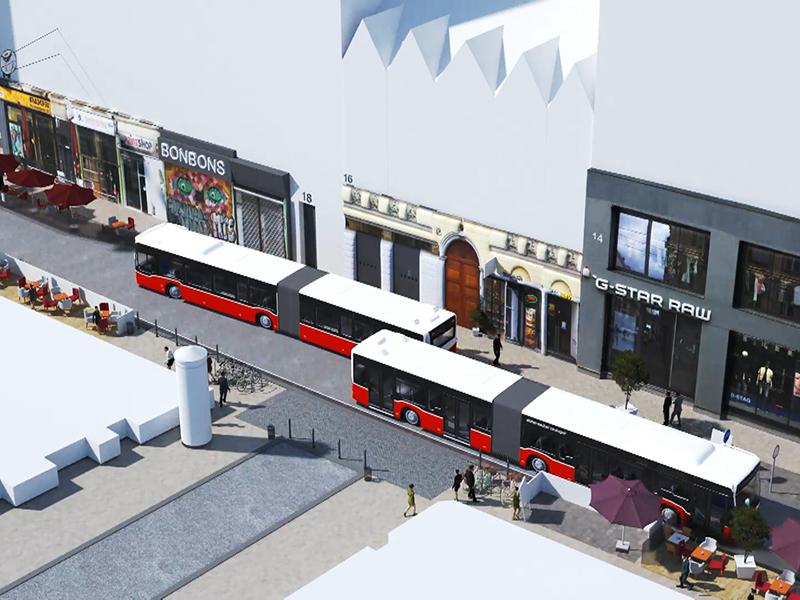 Animation Wiener Linien über 13A in der Neubaugasse