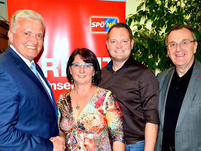 Landesparteivorsitzender Franz Schnabl, Andrea Kahofer, Christian Samwald, Rupert Dworak