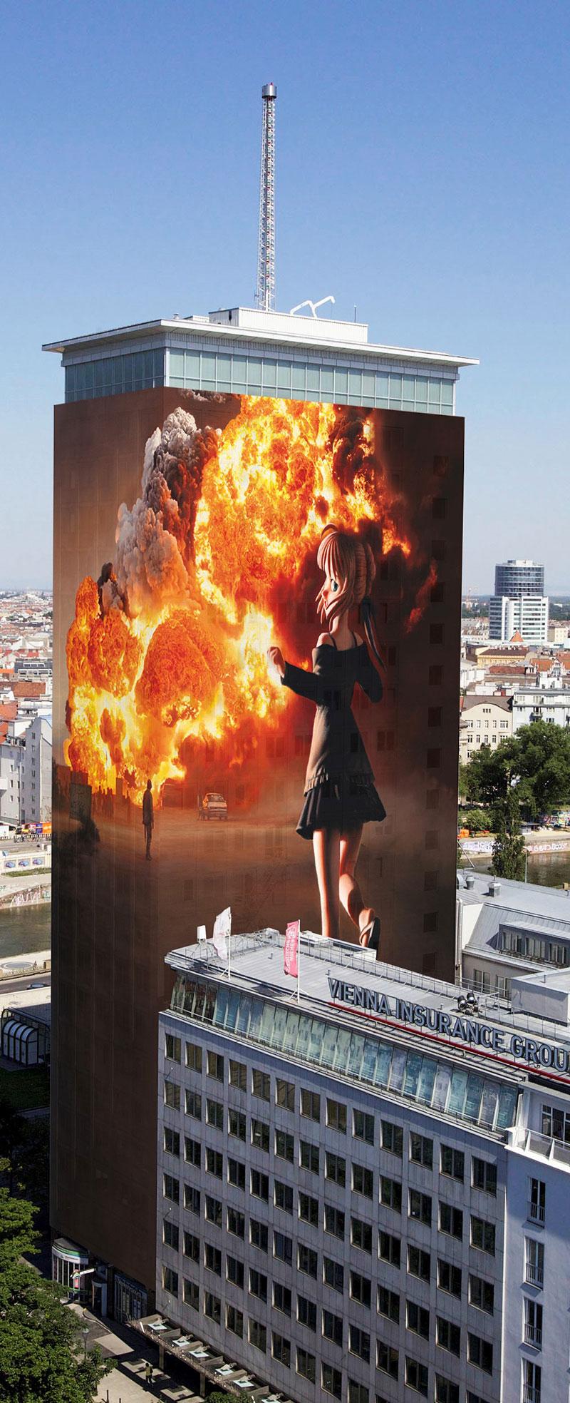 Ringturm Visualisierung mit Brand und Mädchen mit Maschinengewehr