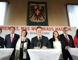 Neues SPÖ Regierungsteam (v. l. n. r.): Czernohorszky, Hanke, Kaup-Hasler, Ludwig, Gaal, Hacker, Sima