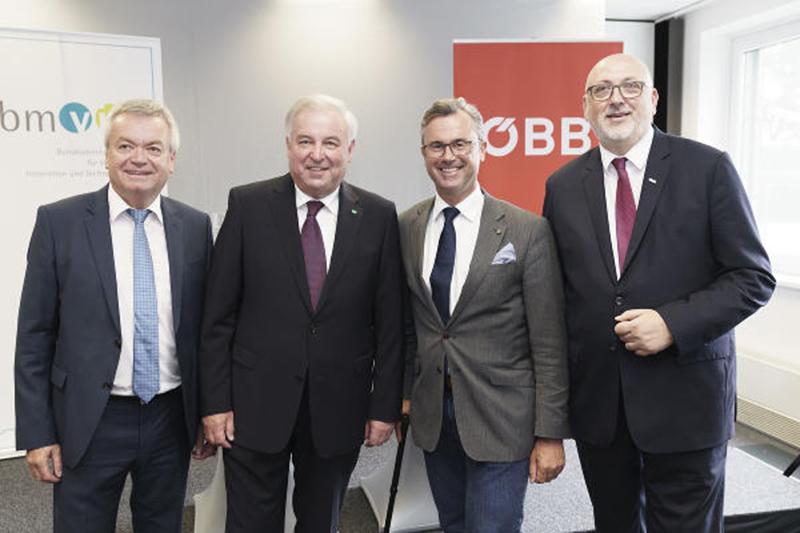 SPÖ-Verkehrslandesrat Anton Lang, ÖVP-Landeshauptmann Hermann Schützenhöfer, FPÖ-Infrastrukturminister Norbert Hofer und ÖBB-Chef Andreas Matthä