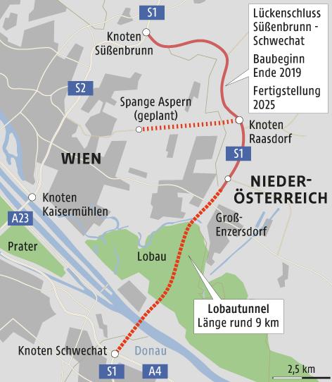 Grafik zeigt die Wiener Nordostumfahrung mit Lobautunnel