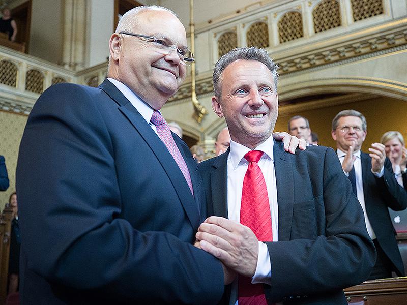 Harry Kopietz und Ernst Woller im Wiener Landtag