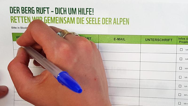 Unterschriftenliste Seele der Alpen