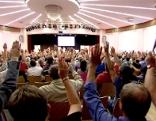 Gewerkschafter bei Versammlung