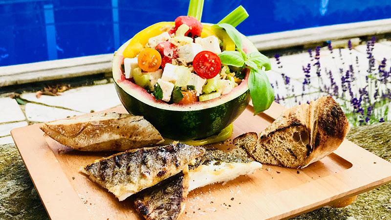 Grillzeit 2018 21 Juni Fisch Melonensalat