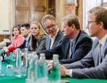 Die Integrationsreferenten der Bundesländer bei der Pressekonferenz nach ihrem Treffen