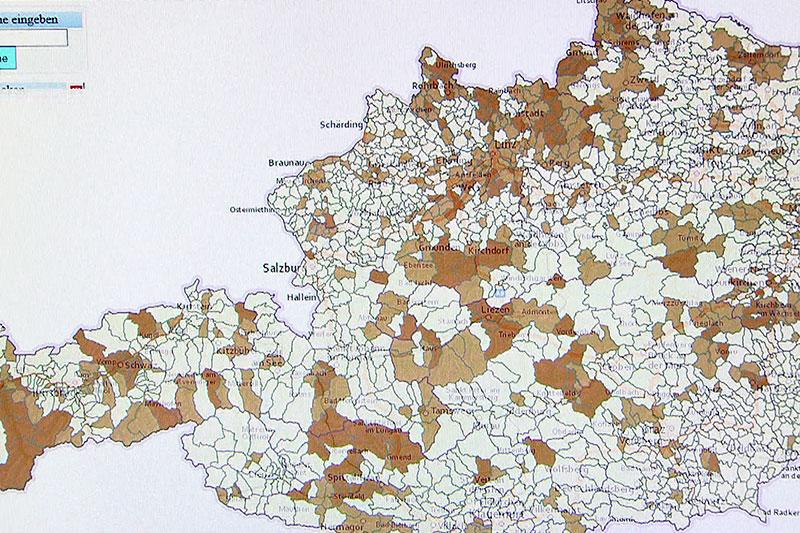 Karte mit Radon Belastung in Österreich