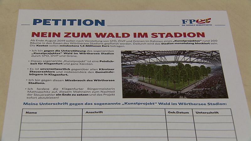 FPÖ Wald im Stadion Kunstprojekt
