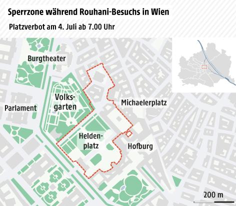 Karte zur Sperrzone während des Rouhani-Besuchs