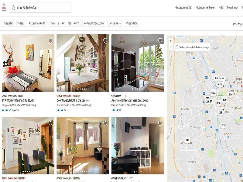 Homepage Airbnb