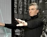 Dominique Meyer mit Wachsfigur von Herbert von Karajan bei Madame Tussauds