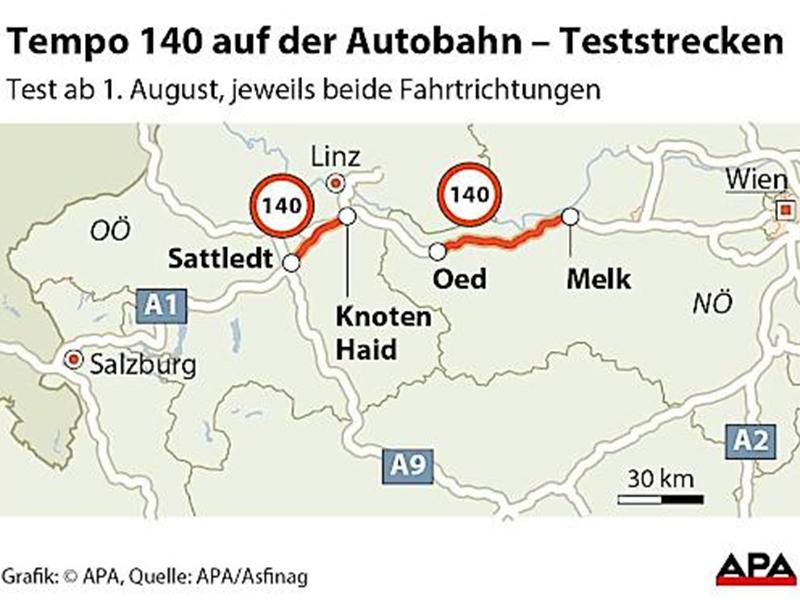 Grafik Teststrecke 140 Westautobahn