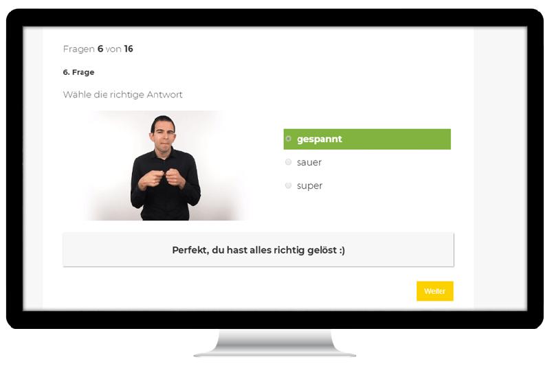 Online-Lernplattform für Gebärdensprache