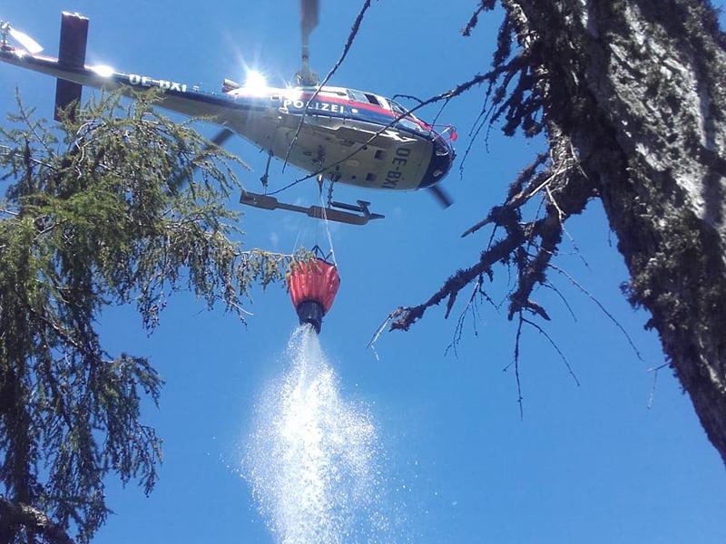 Feuerwehr Polizeihubschrauber Wasser Waldbrand
