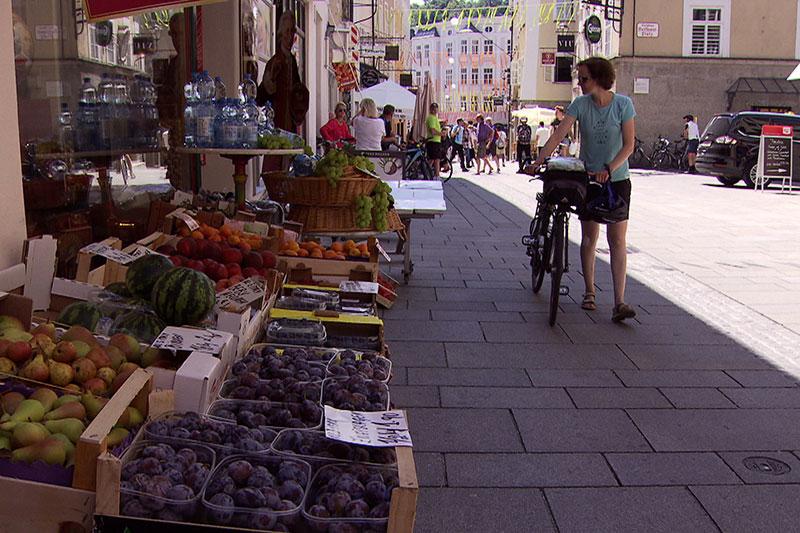 Geschäft an der Linzer Gasse in der Salzburger Altstadt