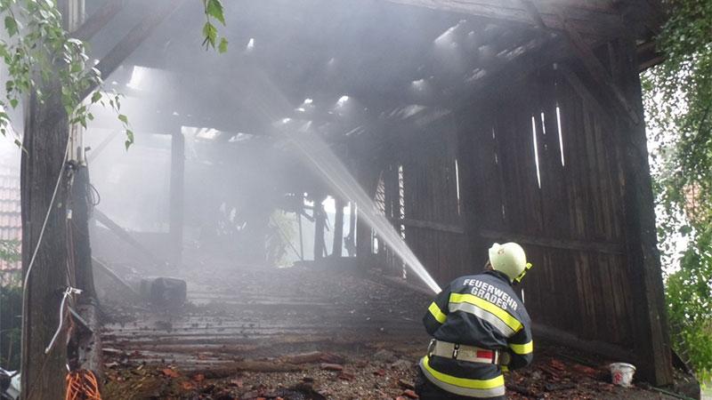Brand Blitzschlag Wirtschaftsgebäude Metnitz Unteralpe