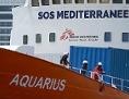 Das Rettungsschiff Aquarius bei der Ankunft in Senglea, Malta.