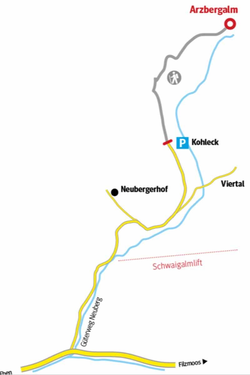 Weggraphik zur Arzbergalm