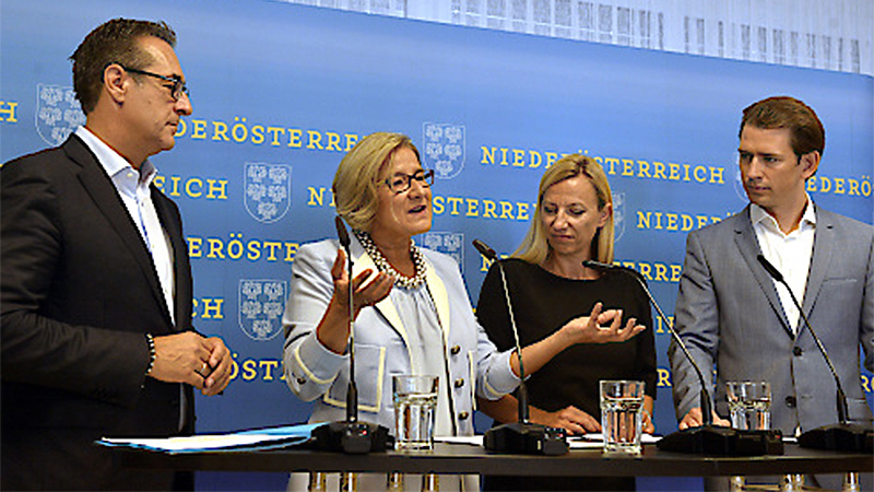 Pressekonferenz Kinderbetreuung Strache Mikl Leitner Bogner Strauß Kurz