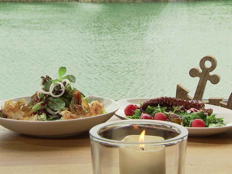Salate mit Shrimps