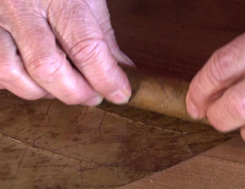 Die Tabak-Blätter werden in liebevoller Handarbeit zu einer Longfiller-Zigarre gerollt.