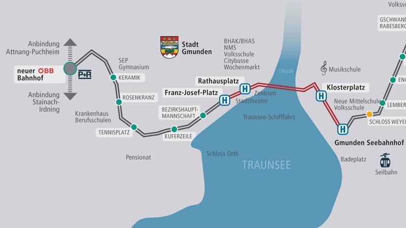 Streckenübersicht der Traunsee-Tram