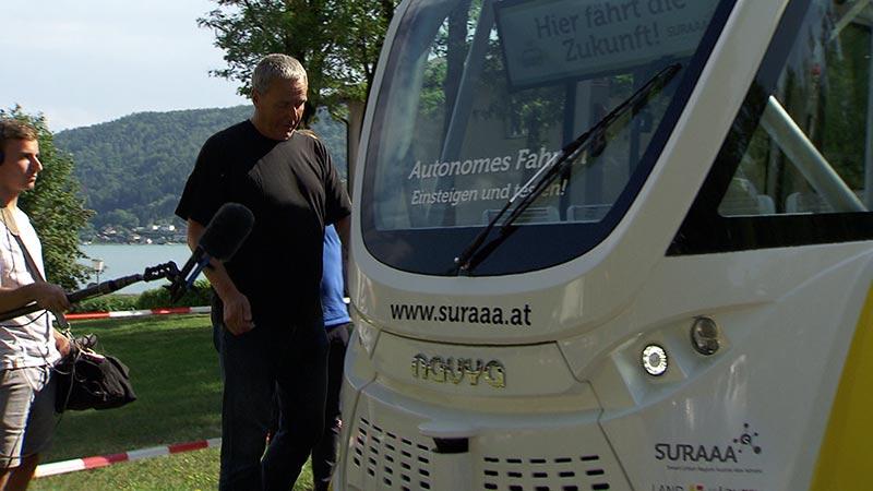 Autonomer selbst fahrender Bus Stresstest Pörtschach