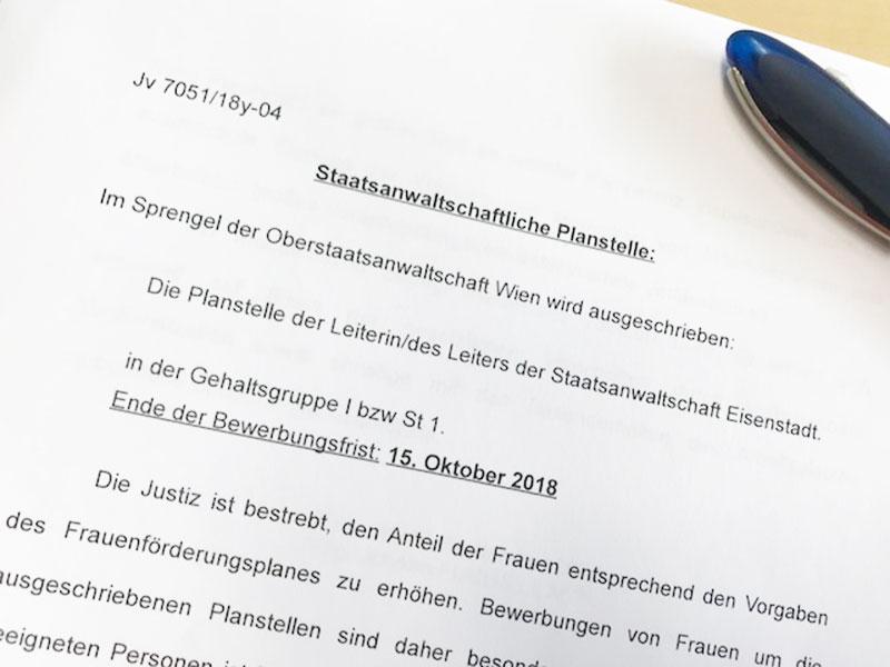 Leiter der Staatsanwaltschaft Eisenstadt ausgeschrieben gesucht